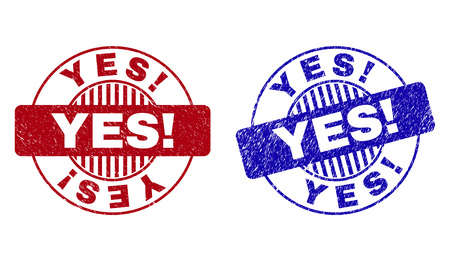 Grunge YES! round stamp seals isolated on a white background. Round seals with grunge texture in red and blue colors. Vector rubber imitation of YES! title inside circle form with stripes. Ilustrace