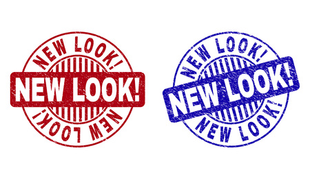 Grunge NEW LOOK! round watermarks isolated on a white background. Round seals with grunge texture in red and blue colors. Vector rubber imitation of NEW LOOK! text inside circle form with stripes.