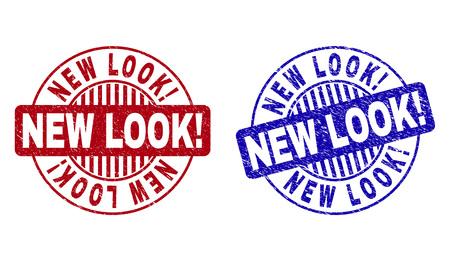 Grunge NOUVEAU LOOK ! filigranes ronds isolés sur fond blanc. Joints ronds avec texture grunge dans les couleurs rouge et bleu. Imitation en caoutchouc de vecteur de NEW LOOK ! texte à l'intérieur d'un cercle avec des rayures. Vecteurs