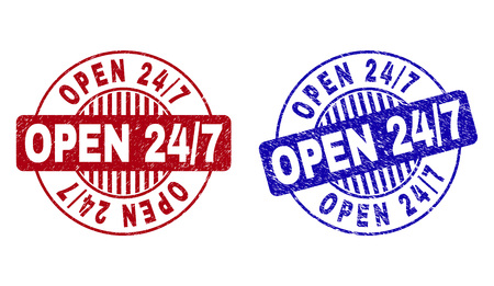 Grunge OPEN 24/7 round stamp seals isolated on a white background. Round seals with grunge texture in red and blue colors. Vector rubber overlay of OPEN 24/7 text inside circle form with stripes.