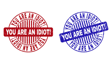 Grunge YOU ARE AN IDIOT! round stamp seals isolated on a white background. Round seals with grunge texture in red and blue colors.