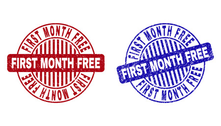 Grunge FIRST MONTH FREE round stamp seals isolated on a white background. Round seals with grunge texture in red and blue colors.