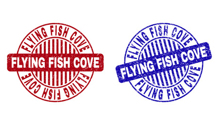 Grunge FLYING FISH COVE round stamp seals isolated on a white background. Round seals with grunge texture in red and blue colors.