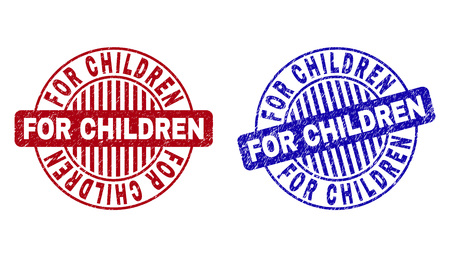 Grunge FOR CHILDREN round stamp seals isolated on a white background. Round seals with grunge texture in red and blue colors. Stock Illustratie