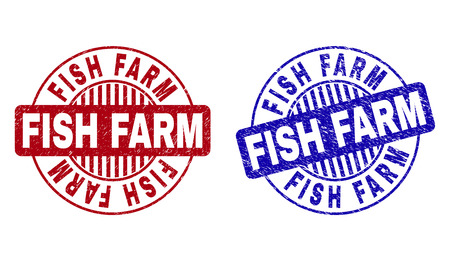Grunge FISH FARM round stamp seals isolated on a white background. Round seals with grunge texture in red and blue colors. Vector rubber watermark of FISH FARM caption inside circle form with stripes. Illustration