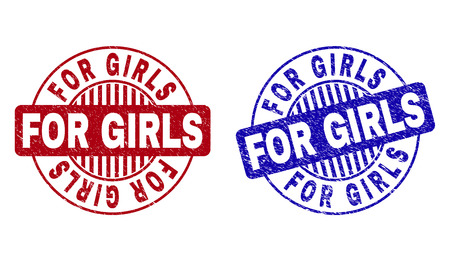 Grunge FOR GIRLS round stamp seals isolated on a white background. Round seals with grunge texture in red and blue colors. Vector rubber overlay of FOR GIRLS caption inside circle form with stripes. Иллюстрация