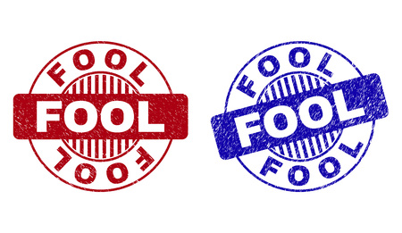 Grunge FOOL round stamp seals isolated on a white background. Round seals with grunge texture in red and blue colors. Vector rubber overlay of FOOL label inside circle form with stripes.
