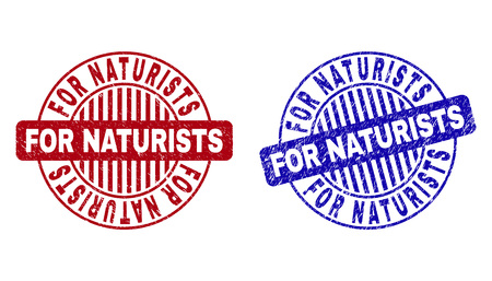 Grunge FOR NATURISTS round stamp seals isolated on a white background. Round seals with grunge texture in red and blue colors.