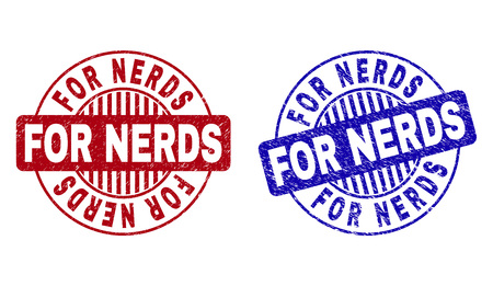 Grunge FOR NERDS round stamp seals isolated on a white background. Round seals with grunge texture in red and blue colors. Vector rubber imprint of FOR NERDS label inside circle form with stripes.