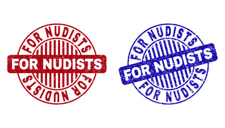 Grunge FOR NUDISTS round stamp seals isolated on a white background. Round seals with grunge texture in red and blue colors. Illustration