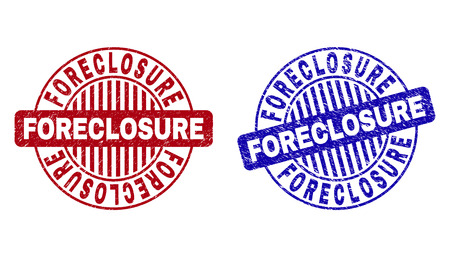 Grunge FORECLOSURE round stamp seals isolated on a white background. Round seals with grunge texture in red and blue colors. Vector rubber imitation of FORECLOSURE tag inside circle form with stripes.