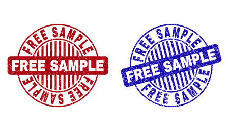 Grunge FREE SAMPLE round stamp seals isolated on a white background. Round seals with grunge texture in red and blue colors. Vector rubber imprint of FREE SAMPLE tag inside circle form with stripes.