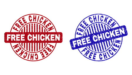 Grunge FREE CHICKEN round stamp seals isolated on a white background. Round seals with grunge texture in red and blue colors. Ilustração