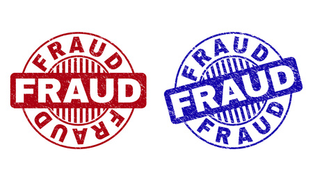 Grunge FRAUD round watermarks isolated on a white background. Round seals with grunge texture in red and blue colors. Vector rubber imitation of FRAUD caption inside circle form with stripes.