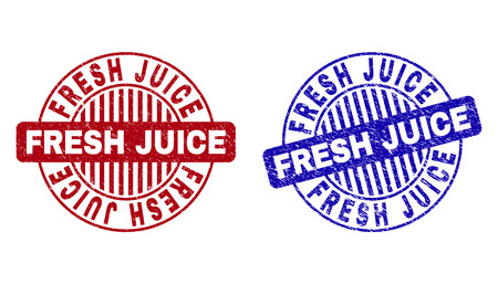Grunge FRESH JUICE round stamp seals isolated on a white background. Round seals with grunge texture in red and blue colors. Vector rubber overlay of FRESH JUICE tag inside circle form with stripes. Illustration