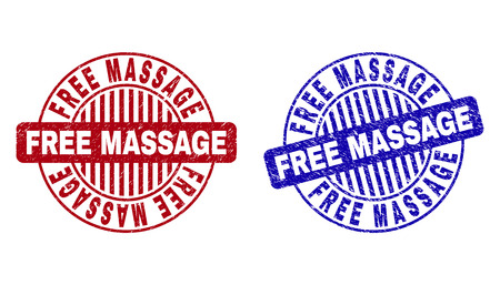 Grunge FREE MASSAGE round stamp seals isolated on a white background. Round seals with grunge texture in red and blue colors.