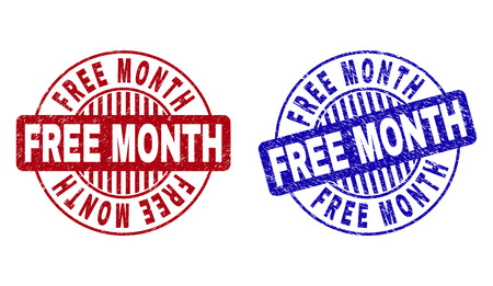 Grunge FREE MONTH round stamp seals isolated on a white background. Round seals with grunge texture in red and blue colors. Vector rubber overlay of FREE MONTH text inside circle form with stripes.