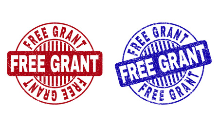 Grunge FREE GRANT round stamp seals isolated on a white background. Round seals with grunge texture in red and blue colors. Vector rubber watermark of FREE GRANT label inside circle form with stripes.
