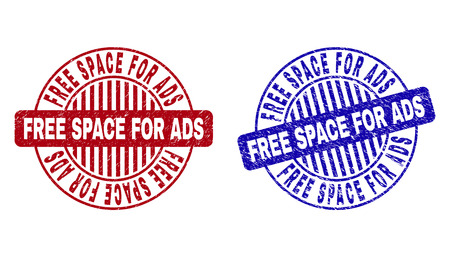 Grunge FREE SPACE FOR ADS round stamp seals isolated on a white background. Round seals with grunge texture in red and blue colors.