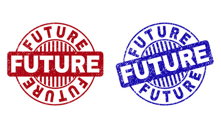 Grunge FUTURE round stamp seals isolated on a white background. Round seals with grunge texture in red and blue colors. Vector rubber overlay of FUTURE tag inside circle form with stripes.