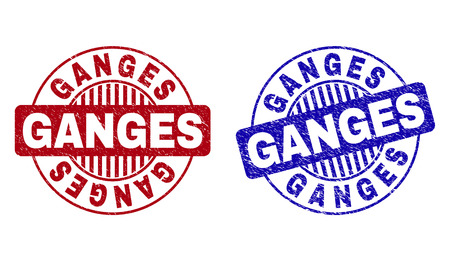 Grunge GANGES round stamp seals isolated on a white background. Round seals with grunge texture in red and blue colors. Vector rubber imprint of GANGES title inside circle form with stripes.