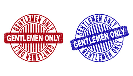 Grunge GENTLEMEN ONLY round stamp seals isolated on a white background. Round seals with grunge texture in red and blue colors.