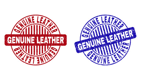 Grunge GENUINE LEATHER round stamp seals isolated on a white background. Round seals with grunge texture in red and blue colors.