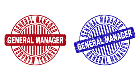 Grunge GENERAL MANAGER round stamp seals isolated on a white background. Round seals with grunge texture in red and blue colors.