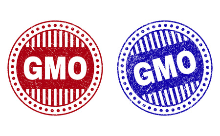 Grunge GMO round stamp seals isolated on a white background. Round seals with grunge texture in red and blue colors. Vector rubber imprint of GMO tag inside circle form with stripes.
