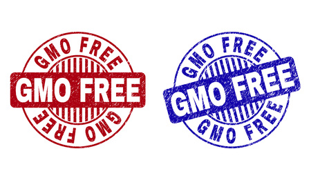 Grunge GMO FREE round stamp seals isolated on a white background. Round seals with grunge texture in red and blue colors. Vector rubber overlay of GMO FREE label inside circle form with stripes.