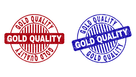Grunge GOLD QUALITY round stamp seals isolated on a white background. Round seals with grunge texture in red and blue colors. Vector rubber overlay of GOLD QUALITY tag inside circle form with stripes.