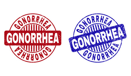 Grunge GONORRHEA round stamp seals isolated on a white background. Round seals with grunge texture in red and blue colors. Vector rubber overlay of GONORRHEA title inside circle form with stripes.
