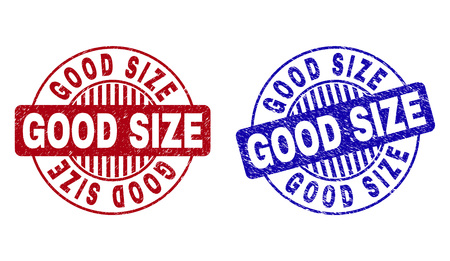 Grunge GOOD SIZE round stamp seals isolated on a white background. Round seals with grunge texture in red and blue colors. Vector rubber imprint of GOOD SIZE label inside circle form with stripes. Ilustrace