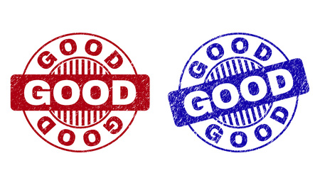 Grunge GOOD round stamp seals isolated on a white background. Round seals with grunge texture in red and blue colors. Vector rubber watermark of GOOD caption inside circle form with stripes. Illustration
