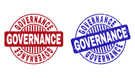 Grunge GOVERNANCE round stamp seals isolated on a white background. Round seals with grunge texture in red and blue colors. Vector rubber imprint of GOVERNANCE caption inside circle form with stripes.