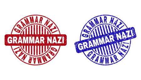 Grunge GRAMMAR NAZI round stamp seals isolated on a white background. Round seals with grunge texture in red and blue colors.