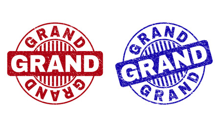 Grunge GRAND round stamp seals isolated on a white background. Round seals with grunge texture in red and blue colors. Vector rubber watermark of GRAND title inside circle form with stripes.