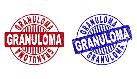 Grunge GRANULOMA round stamp seals isolated on a white background. Round seals with grunge texture in red and blue colors. Vector rubber overlay of GRANULOMA caption inside circle form with stripes.