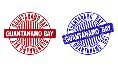 Grunge GUANTANAMO BAY round stamp seals isolated on a white background. Round seals with grunge texture in red and blue colors.