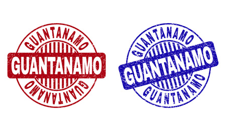 Grunge GUANTANAMO round stamp seals isolated on a white background. Round seals with distress texture in red and blue colors. Vector rubber overlay of GUANTANAMO title inside circle form with stripes.