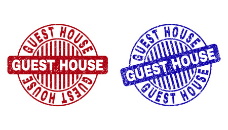 Grunge GUEST HOUSE round stamp seals isolated on a white background. Round seals with grunge texture in red and blue colors. Vector rubber overlay of GUEST HOUSE tag inside circle form with stripes.