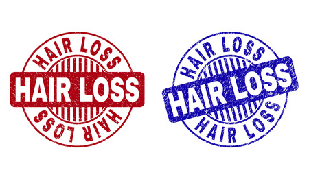 Grunge HAIR LOSS round stamp seals isolated on a white background. Round seals with grunge texture in red and blue colors. Vector rubber imprint of HAIR LOSS label inside circle form with stripes. Çizim