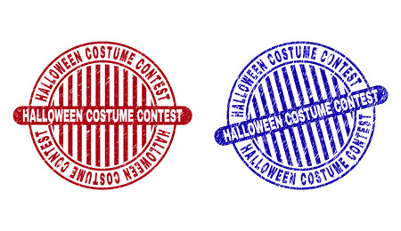 Grunge HALLOWEEN COSTUME CONTEST round stamp seals isolated on a white background. Round seals with distress texture in red and blue colors.