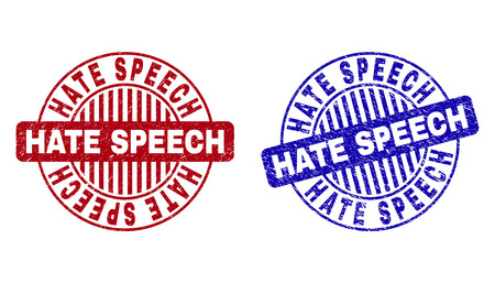 Grunge HATE SPEECH round stamp seals isolated on a white background. Round seals with grunge texture in red and blue colors. Illustration