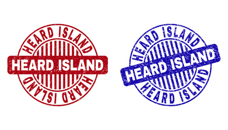 Grunge HEARD ISLAND round stamp seals isolated on a white background. Round seals with grunge texture in red and blue colors.