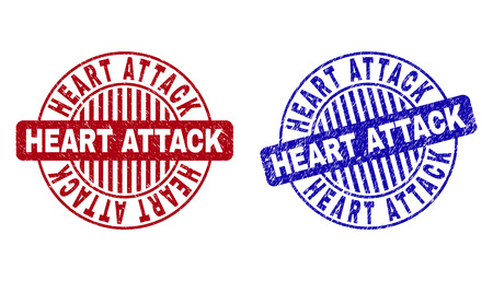 Grunge HEART ATTACK round stamp seals isolated on a white background. Round seals with grunge texture in red and blue colors.