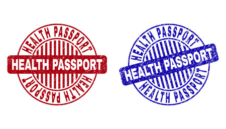 Grunge HEALTH PASSPORT round stamp seals isolated on a white background. Round seals with grunge texture in red and blue colors. Standard-Bild - 120131959