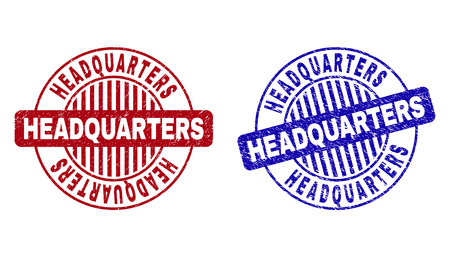 Grunge HEADQUARTERS round stamp seals isolated on a white background. Round seals with grunge texture in red and blue colors.