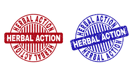 Grunge HERBAL ACTION round stamp seals isolated on a white background. Round seals with grunge texture in red and blue colors. Illusztráció