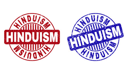 Grunge HINDUISM round stamp seals isolated on a white background. Round seals with grunge texture in red and blue colors. Vector rubber watermark of HINDUISM text inside circle form with stripes.